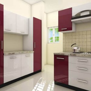 Red color theme kitchen interior design