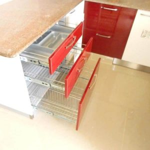 Red Color Drawers in Kichen Designs